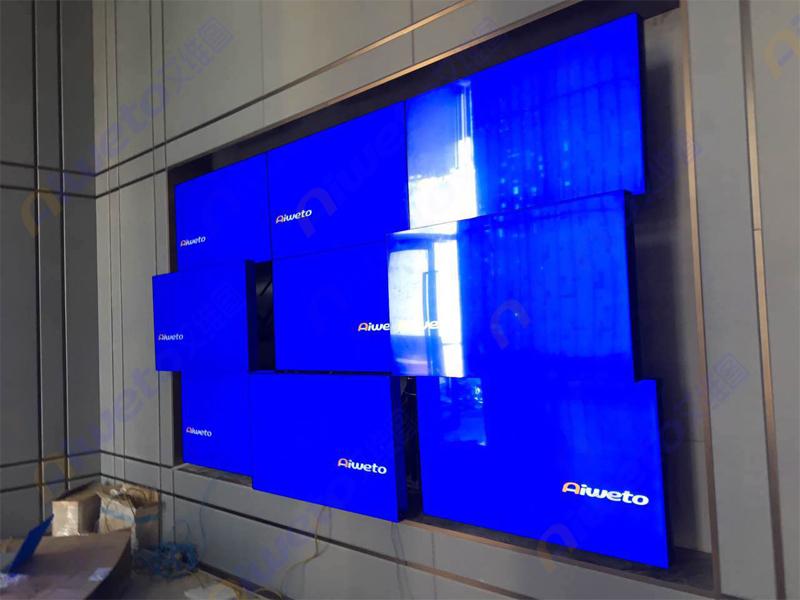 9台55寸3.5mm高清拼接屏应用于重庆北碚区蔡家金科美院售楼处大厅